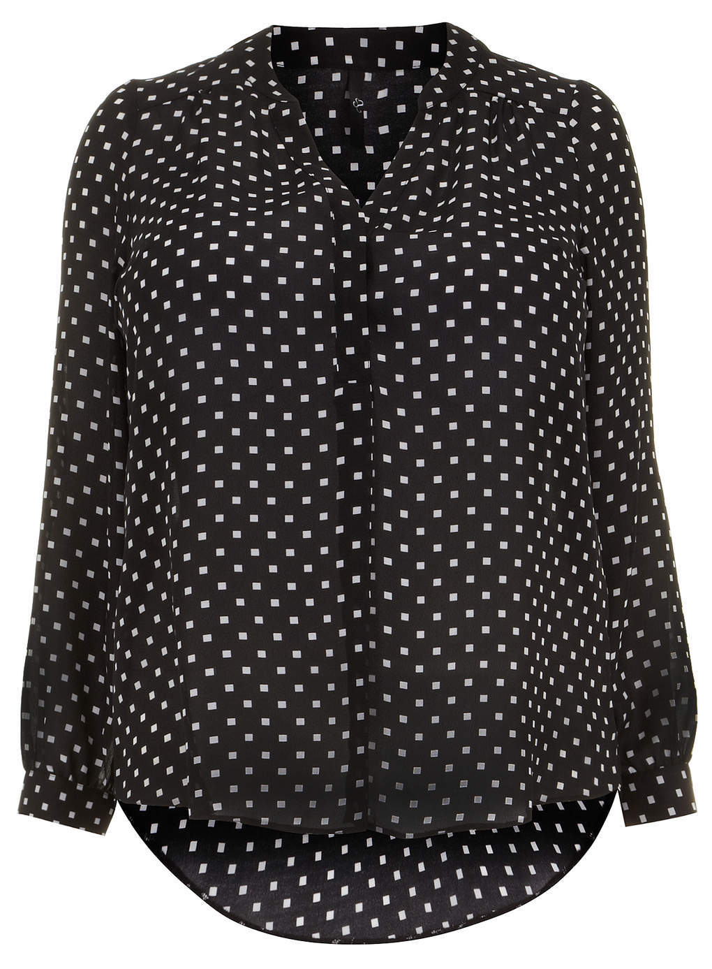 Black Busty Square Print Shirt - neckline: shirt collar/peter pan/zip with opening; style: shirt; pattern: polka dot; secondary colour: white; predominant colour: black; occasions: casual, work, creative work; length: standard; fibres: polyester/polyamide - 100%; fit: straight cut; back detail: longer hem at back than at front; sleeve length: long sleeve; sleeve style: standard; texture group: sheer fabrics/chiffon/organza etc.; pattern type: fabric; pattern size: standard; season: s/s 2014; trends: monochrome
