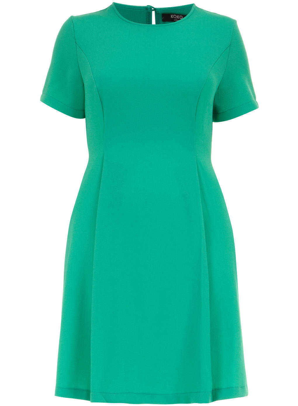 Koko Koko Green Skater Dress - style: shift; length: mid thigh; pattern: plain; predominant colour: emerald green; occasions: casual, evening, occasion, creative work; fit: fitted at waist & bust; fibres: polyester/polyamide - 100%; neckline: crew; hip detail: structured pleats at hip; sleeve length: short sleeve; sleeve style: standard; pattern type: fabric; texture group: other - light to midweight; trends: hot brights; season: s/s 2014