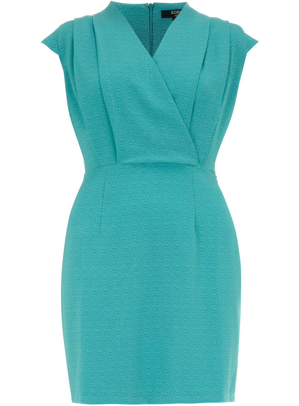 Koko Koko Turquoise Textured Wrap Over Dress - style: faux wrap/wrap; length: mid thigh; neckline: v-neck; sleeve style: capped; fit: tailored/fitted; pattern: plain; predominant colour: turquoise; occasions: evening, occasion; fibres: polyester/polyamide - 100%; sleeve length: sleeveless; texture group: crepes; bust detail: tiers/frills/bulky drapes/pleats; pattern type: fabric; trends: hot brights; season: s/s 2014