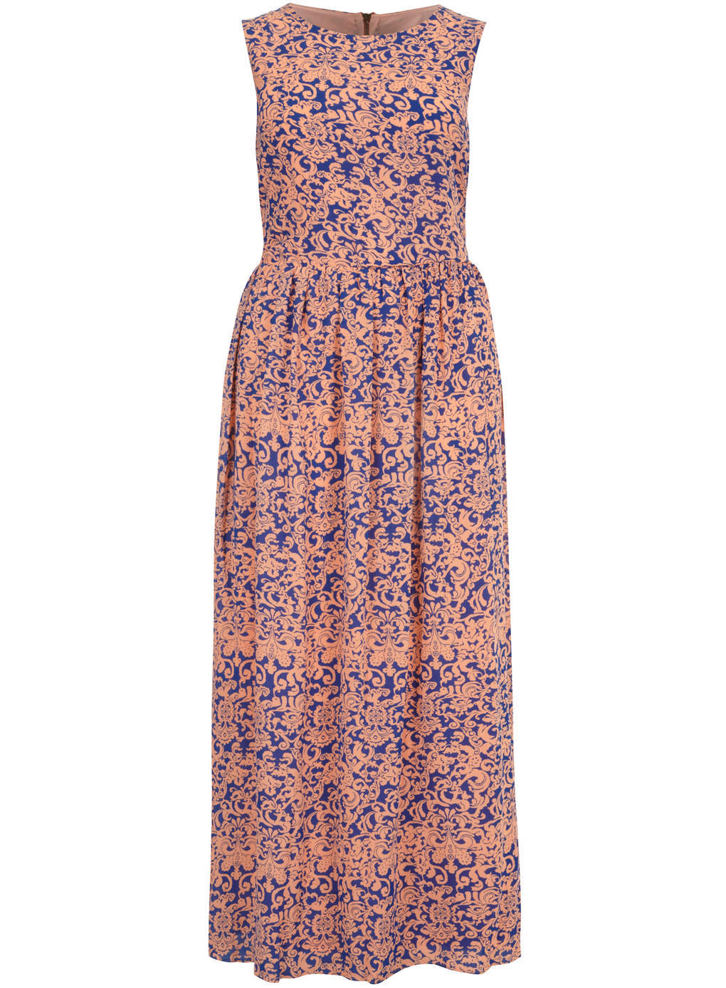 Koko Koko Coral & Blue Multi Print Maxi Dress - sleeve style: sleeveless; style: maxi dress; length: ankle length; pattern: paisley; predominant colour: pink; secondary colour: royal blue; occasions: casual, holiday; fit: fitted at waist & bust; fibres: polyester/polyamide - 100%; neckline: crew; sleeve length: sleeveless; pattern type: fabric; pattern size: standard; texture group: other - light to midweight; season: s/s 2014