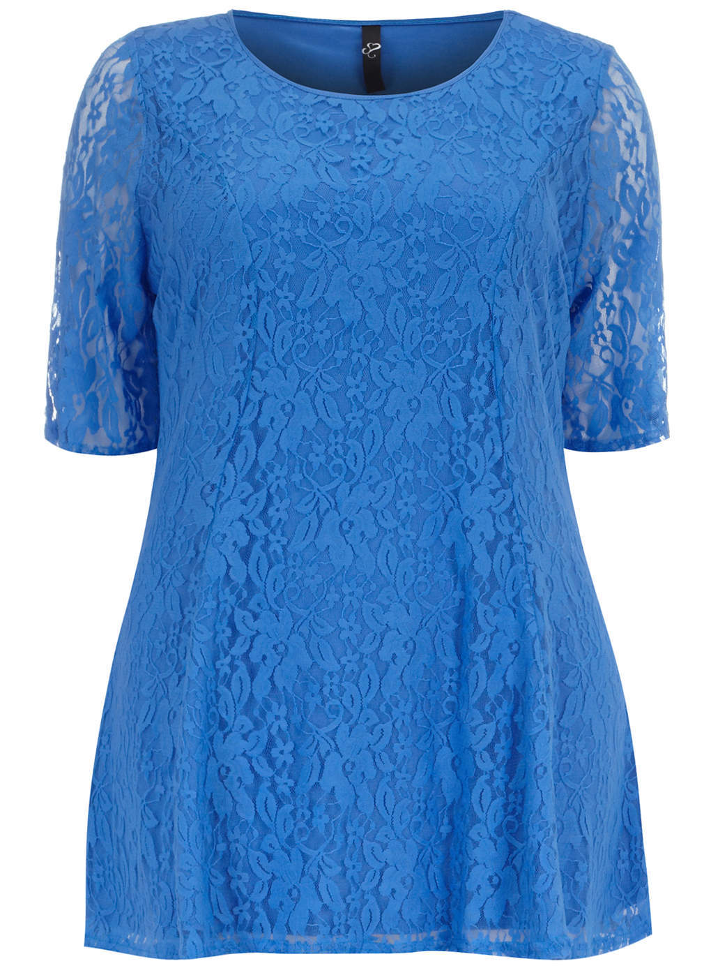 Blue Busty Lace Top - neckline: round neck; length: below the bottom; predominant colour: diva blue; occasions: casual, evening, creative work; style: top; fibres: nylon - mix; fit: loose; sleeve length: half sleeve; sleeve style: standard; texture group: lace; pattern: patterned/print; trends: hot brights, lace; season: s/s 2014