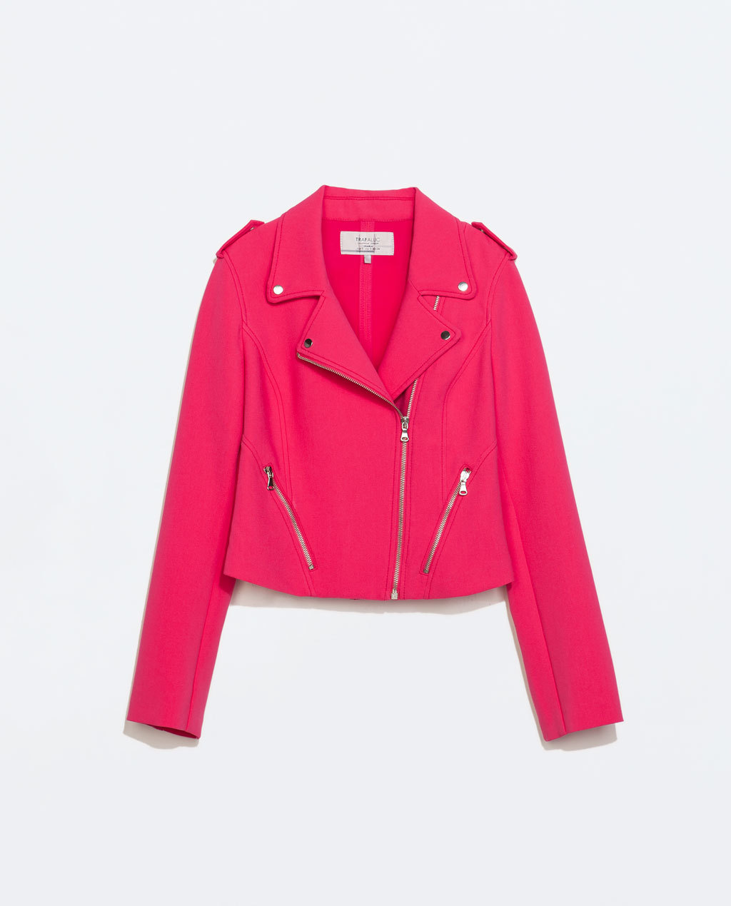 Short Biker Jacket - pattern: plain; style: biker; shoulder detail: obvious epaulette; collar: asymmetric biker; predominant colour: hot pink; occasions: casual, evening, creative work; fit: tailored/fitted; fibres: polyester/polyamide - stretch; sleeve length: long sleeve; sleeve style: standard; collar break: high/illusion of break when open; pattern type: fabric; texture group: other - light to midweight; season: s/s 2014; length: cropped; wardrobe: highlight