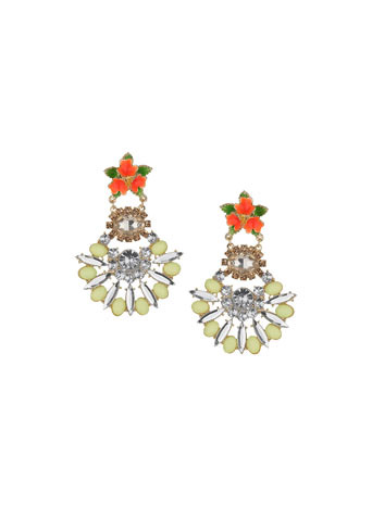 Sparkle Flower Drop Earrings - occasions: evening, occasion; predominant colour: multicoloured; style: drop; length: mid; size: standard; material: chain/metal; fastening: pierced; finish: metallic; embellishment: jewels/stone; trends: shimmery metallics; season: s/s 2014; multicoloured: multicoloured