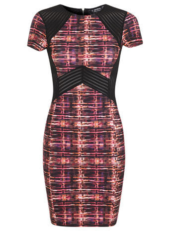 Petites Pink Graphic Dress - length: mid thigh; neckline: round neck; fit: tight; style: bodycon; waist detail: embellishment at waist/feature waistband; shoulder detail: contrast pattern/fabric at shoulder; secondary colour: black; occasions: evening; fibres: polyester/polyamide - stretch; sleeve length: short sleeve; sleeve style: standard; texture group: jersey - clingy; pattern type: fabric; pattern size: standard; pattern: patterned/print; predominant colour: dusky pink; season: s/s 2014