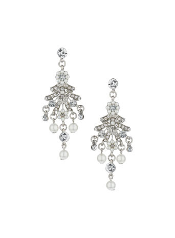 Sparkle Stone Drop Earrings - secondary colour: ivory/cream; predominant colour: silver; occasions: evening, occasion; style: chandelier; length: mid; size: standard; material: chain/metal; fastening: pierced; finish: metallic; embellishment: crystals/glass; season: s/s 2014