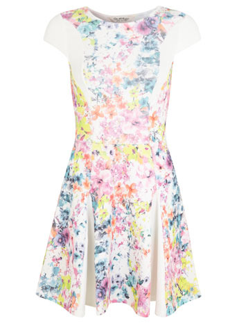 Floral Fit And Flare Dress - length: mid thigh; neckline: round neck; sleeve style: capped; occasions: casual, evening; fit: fitted at waist & bust; style: fit & flare; fibres: polyester/polyamide - stretch; hip detail: soft pleats at hip/draping at hip/flared at hip; predominant colour: multicoloured; sleeve length: short sleeve; pattern type: fabric; pattern size: standard; pattern: florals; texture group: jersey - stretchy/drapey; season: s/s 2014; multicoloured: multicoloured