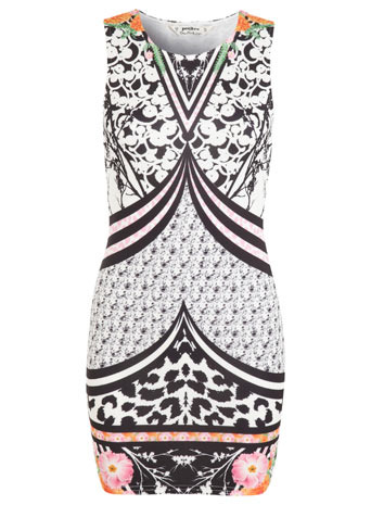 Petites Mirror Print Bodycon - length: mid thigh; neckline: round neck; fit: tight; sleeve style: sleeveless; style: bodycon; predominant colour: ivory/cream; secondary colour: black; occasions: evening; fibres: polyester/polyamide - stretch; sleeve length: sleeveless; texture group: jersey - clingy; pattern type: fabric; pattern size: big & busy; pattern: patterned/print; season: s/s 2014