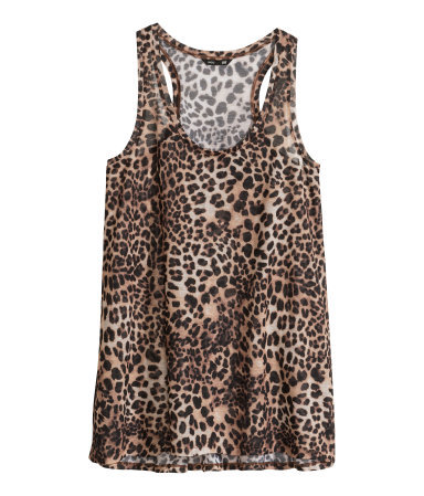 Jersey Vest Top - sleeve style: standard vest straps/shoulder straps; style: vest top; predominant colour: chocolate brown; secondary colour: taupe; occasions: casual, holiday; length: standard; neckline: scoop; fibres: polyester/polyamide - 100%; fit: body skimming; sleeve length: sleeveless; pattern type: fabric; pattern size: standard; pattern: animal print; texture group: jersey - stretchy/drapey; trends: world traveller; season: s/s 2014