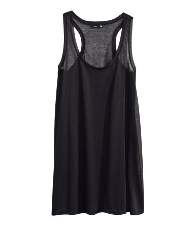 Jersey Vest Top - sleeve style: standard vest straps/shoulder straps; pattern: plain; length: below the bottom; style: vest top; back detail: racer back/sports back; predominant colour: black; occasions: casual, holiday; neckline: scoop; fibres: polyester/polyamide - 100%; fit: loose; sleeve length: sleeveless; pattern type: fabric; texture group: jersey - stretchy/drapey; season: s/s 2014