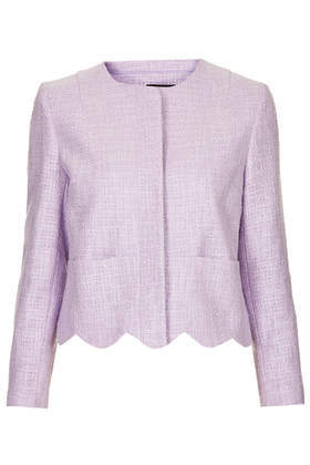 Betty Scallop Jacket - pattern: plain; style: single breasted blazer; collar: round collar/collarless; predominant colour: lilac; occasions: casual, evening, occasion, creative work; length: standard; fit: straight cut (boxy); fibres: cotton - mix; sleeve length: long sleeve; sleeve style: standard; collar break: high; pattern type: fabric; pattern size: standard; texture group: tweed - light/midweight; trends: sorbet shades; season: s/s 2014