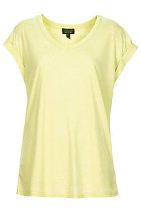 V Neck Burnout Tee - neckline: v-neck; pattern: plain; style: t-shirt; predominant colour: primrose yellow; occasions: casual, holiday, creative work; length: standard; fibres: polyester/polyamide - mix; fit: loose; sleeve length: short sleeve; sleeve style: standard; pattern type: fabric; texture group: jersey - stretchy/drapey; trends: sorbet shades; season: s/s 2014