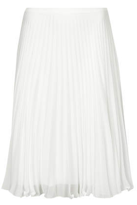 Sunray Pleat Midi Skirt - pattern: plain; fit: loose/voluminous; style: pleated; waist: high rise; predominant colour: white; occasions: casual, evening; length: on the knee; fibres: polyester/polyamide - 100%; texture group: sheer fabrics/chiffon/organza etc.; pattern type: fabric; trends: powerful pleats, sheer; season: s/s 2014