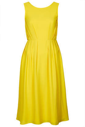 Pasha Poppy Midi Dress - length: below the knee; neckline: round neck; pattern: plain; sleeve style: sleeveless; waist detail: fitted waist; back detail: back revealing; predominant colour: yellow; occasions: casual, occasion, creative work; fit: fitted at waist & bust; style: fit & flare; fibres: polyester/polyamide - 100%; hip detail: subtle/flattering hip detail; sleeve length: sleeveless; texture group: crepes; pattern type: fabric; trends: hot brights; season: s/s 2014