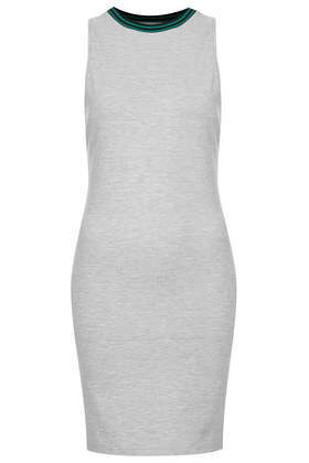 Sporty Racerback Bodycon Dress - length: mini; fit: tight; pattern: plain; sleeve style: sleeveless; style: bodycon; back detail: racer back/sports back; predominant colour: mid grey; occasions: casual, evening; fibres: viscose/rayon - stretch; neckline: crew; sleeve length: sleeveless; texture group: jersey - clingy; pattern type: fabric; season: s/s 2014