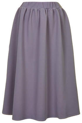 Texture Jersey Midi Skirt - length: calf length; pattern: plain; style: full/prom skirt; fit: loose/voluminous; waist detail: elasticated waist; waist: high rise; predominant colour: purple; occasions: casual, evening, creative work; fibres: polyester/polyamide - stretch; hip detail: adds bulk at the hips; pattern type: fabric; texture group: jersey - stretchy/drapey; season: s/s 2014; wardrobe: highlight