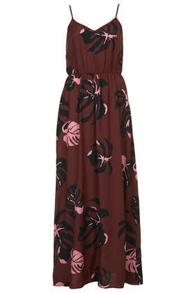 Amazona Island Print Maxi Dress - neckline: low v-neck; sleeve style: spaghetti straps; fit: fitted at waist; style: maxi dress; waist detail: elasticated waist; back detail: low cut/open back; predominant colour: burgundy; secondary colour: nude; occasions: casual, holiday; length: floor length; fibres: viscose/rayon - 100%; hip detail: soft pleats at hip/draping at hip/flared at hip; sleeve length: sleeveless; pattern type: fabric; pattern size: standard; pattern: patterned/print; texture group: jersey - stretchy/drapey; season: s/s 2014