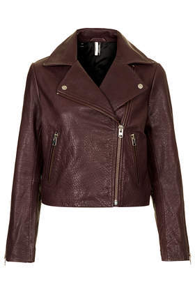 Boxy Leather Biker Jacket - pattern: plain; style: biker; collar: asymmetric biker; predominant colour: burgundy; occasions: casual; fit: straight cut (boxy); fibres: leather - 100%; sleeve length: 3/4 length; sleeve style: standard; texture group: leather; collar break: high/illusion of break when open; pattern type: fabric; season: s/s 2014; length: cropped