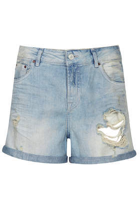 Moto Bleach Denim Boyshorts - pattern: plain; pocket detail: traditional 5 pocket; waist: mid/regular rise; predominant colour: pale blue; occasions: casual, holiday; fibres: cotton - 100%; texture group: denim; pattern type: fabric; season: s/s 2014; style: denim; length: short shorts; fit: slim leg