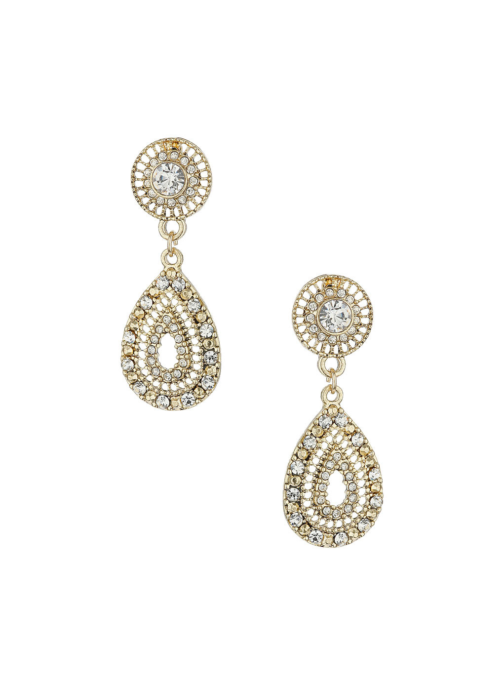 Gold Sparkle Teardrop Earrings - predominant colour: gold; occasions: evening, occasion; style: drop; length: long; size: large/oversized; material: chain/metal; fastening: pierced; finish: metallic; embellishment: crystals/glass; season: s/s 2014