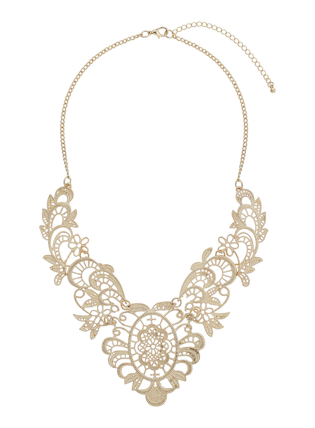 Gold Filigree Statement Necklace - predominant colour: gold; occasions: evening, occasion, creative work; length: mid; size: large/oversized; material: chain/metal; finish: metallic; style: bib/statement; season: s/s 2014