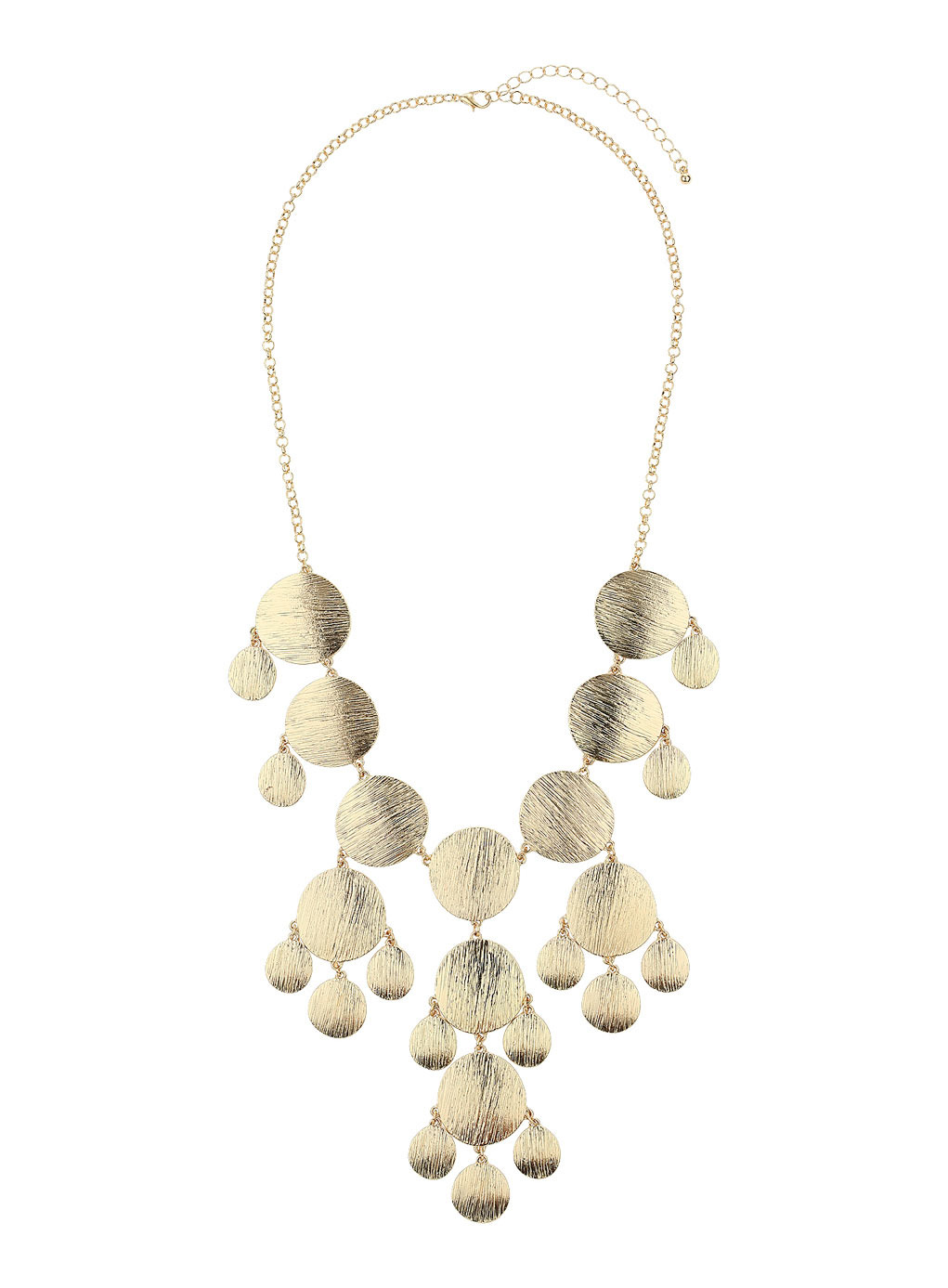 Gold Brushed Disc Necklace - predominant colour: gold; occasions: evening, occasion, holiday; length: mid; size: large/oversized; material: chain/metal; finish: metallic; style: bib/statement; season: s/s 2014
