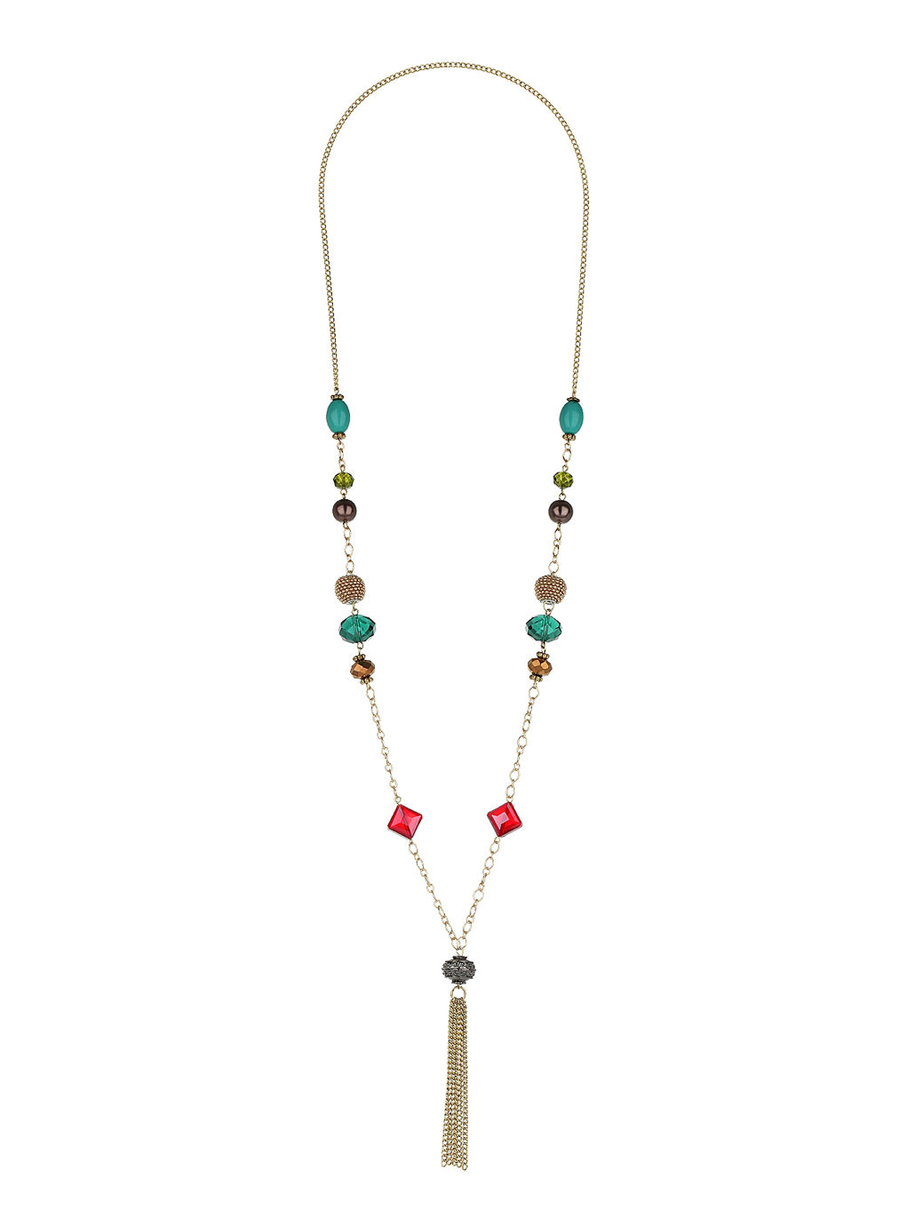 Blue Bead And Tassel Necklace - secondary colour: mint green; predominant colour: gold; occasions: casual, evening; style: pendant; length: long; size: standard; material: chain/metal; finish: metallic; embellishment: beading; season: s/s 2014