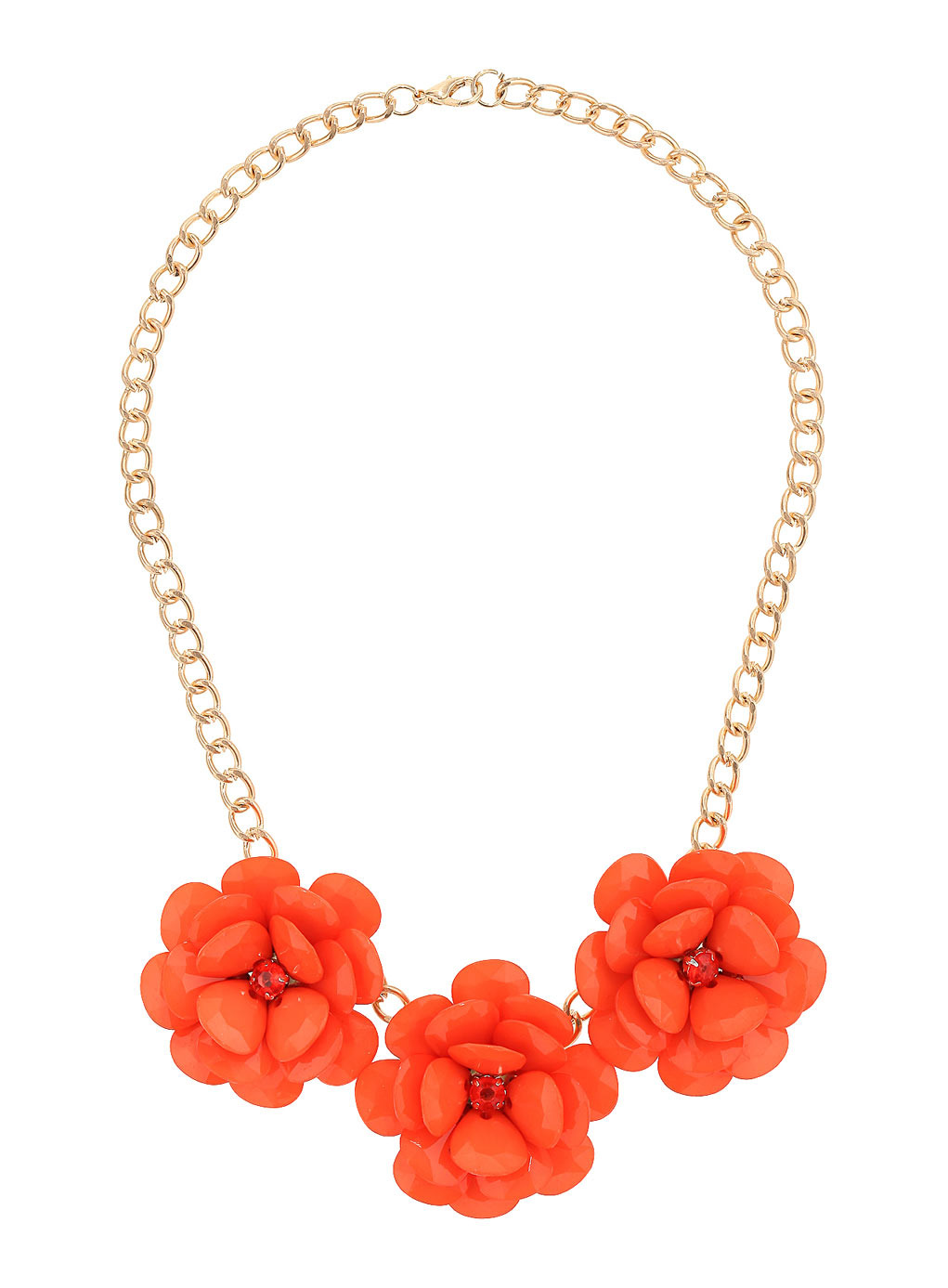 Orange Flower Statement Necklace - predominant colour: bright orange; secondary colour: gold; occasions: evening, occasion, creative work; length: short; size: standard; material: fabric/cotton; finish: plain; embellishment: jewels/stone; style: bib/statement; season: s/s 2014