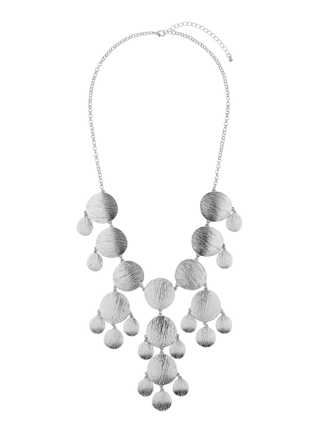 Silver Brushed Disc Necklace - predominant colour: silver; occasions: evening, occasion; length: mid; size: large/oversized; material: chain/metal; finish: metallic; style: bib/statement; season: s/s 2014