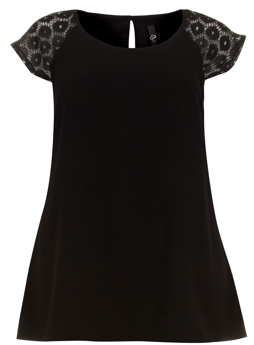 Black Lace Sleeve Swing Top - neckline: round neck; pattern: plain; shoulder detail: contrast pattern/fabric at shoulder; predominant colour: black; occasions: casual, creative work; length: standard; style: top; fibres: polyester/polyamide - stretch; fit: body skimming; back detail: keyhole/peephole detail at back; sleeve length: short sleeve; sleeve style: standard; pattern type: fabric; texture group: jersey - stretchy/drapey; embellishment: lace; trends: lace; season: s/s 2014