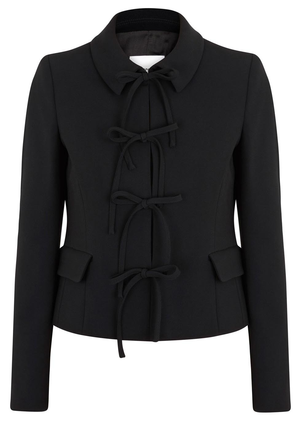 Black Bow Embellished Crepe Jacket - pattern: plain; style: single breasted blazer; predominant colour: black; occasions: work, creative work; length: standard; fit: tailored/fitted; collar: shirt collar/peter pan/zip with opening; sleeve length: long sleeve; sleeve style: standard; texture group: crepes; collar break: high; pattern type: fabric; fibres: viscose/rayon - mix; season: s/s 2014