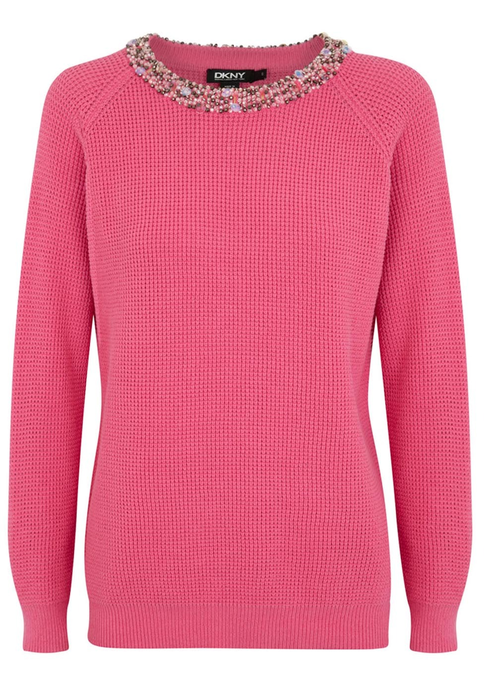 Pink Embellished Jumper Size - neckline: round neck; pattern: plain; style: standard; predominant colour: pink; occasions: casual, creative work; length: standard; fibres: cotton - mix; fit: standard fit; sleeve length: long sleeve; sleeve style: standard; texture group: knits/crochet; pattern type: knitted - fine stitch; embellishment: beading; season: s/s 2014; wardrobe: highlight; embellishment location: neck