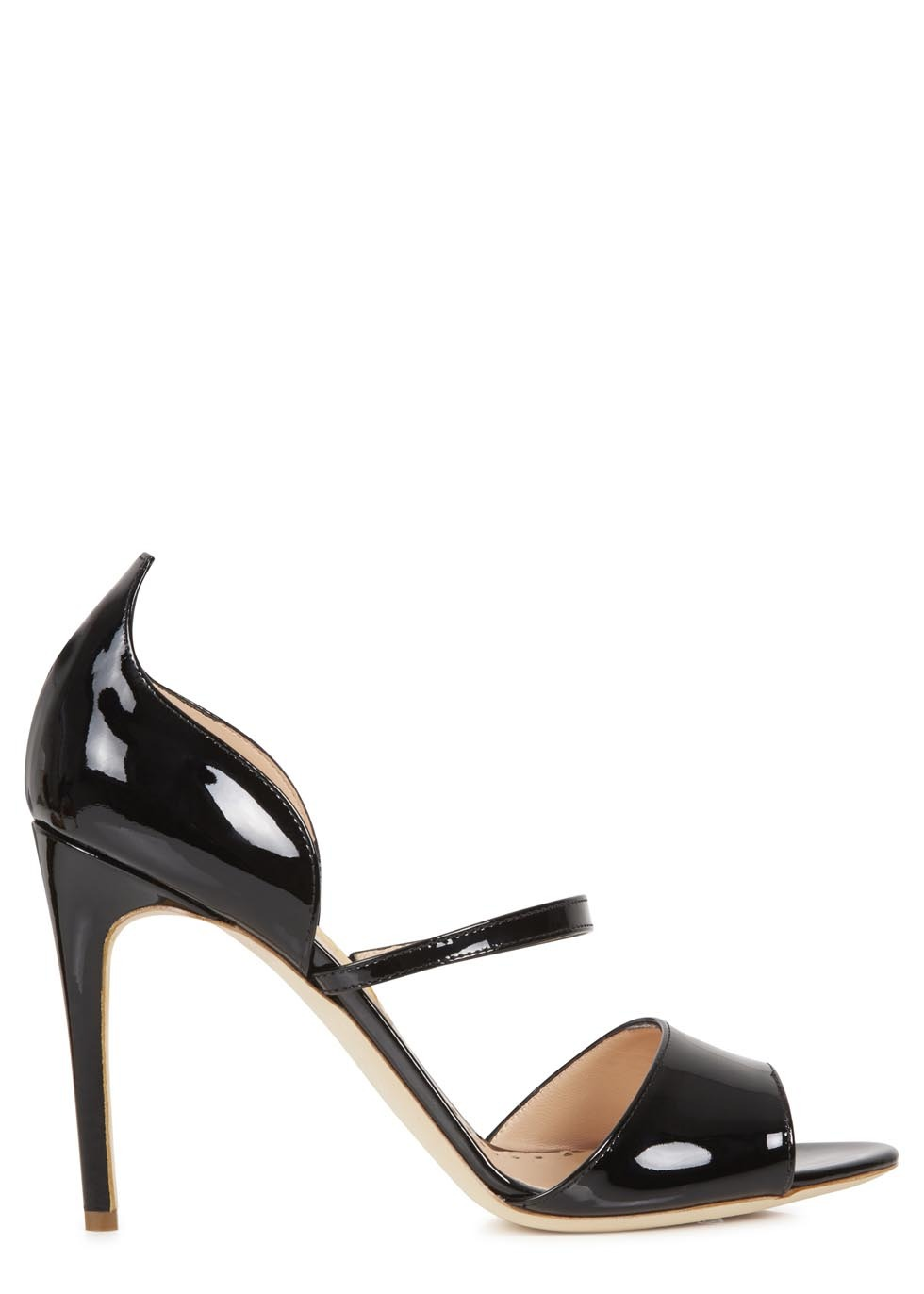 Black Patent Leather Sandals - predominant colour: black; occasions: evening, occasion, creative work; material: leather; heel: stiletto; toe: open toe/peeptoe; style: strappy; finish: patent; pattern: plain; heel height: very high; season: s/s 2014