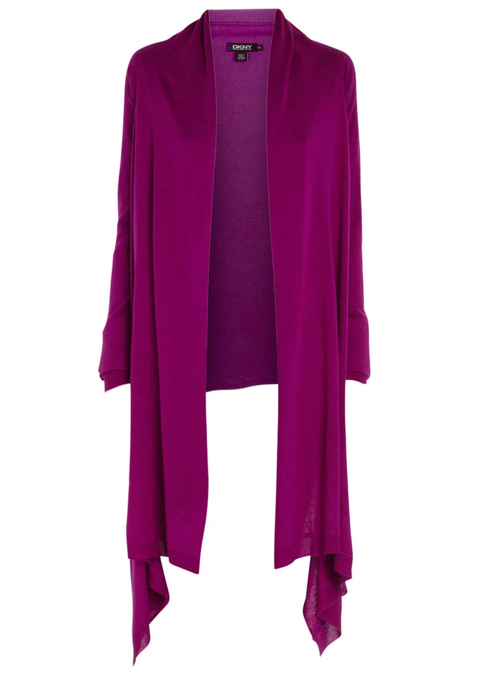 Purple Silk And Cashmere Blend Cozy - pattern: plain; neckline: waterfall neck; style: open front; predominant colour: purple; occasions: casual, creative work; length: standard; fibres: silk - mix; fit: standard fit; back detail: shorter hem at back than at front; sleeve length: long sleeve; sleeve style: standard; texture group: knits/crochet; pattern type: knitted - fine stitch; trends: hot brights; season: s/s 2014