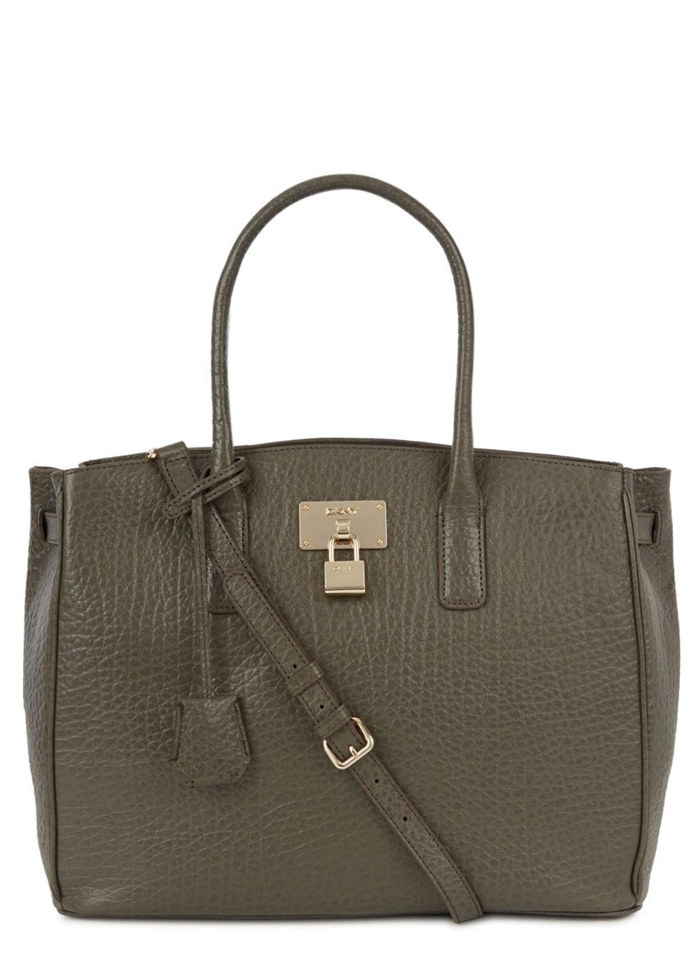 Beekman Grey Glossed Leather Tote - predominant colour: khaki; occasions: casual, work, creative work; type of pattern: standard; style: tote; length: handle; size: standard; material: faux leather; pattern: plain; finish: plain; season: s/s 2014
