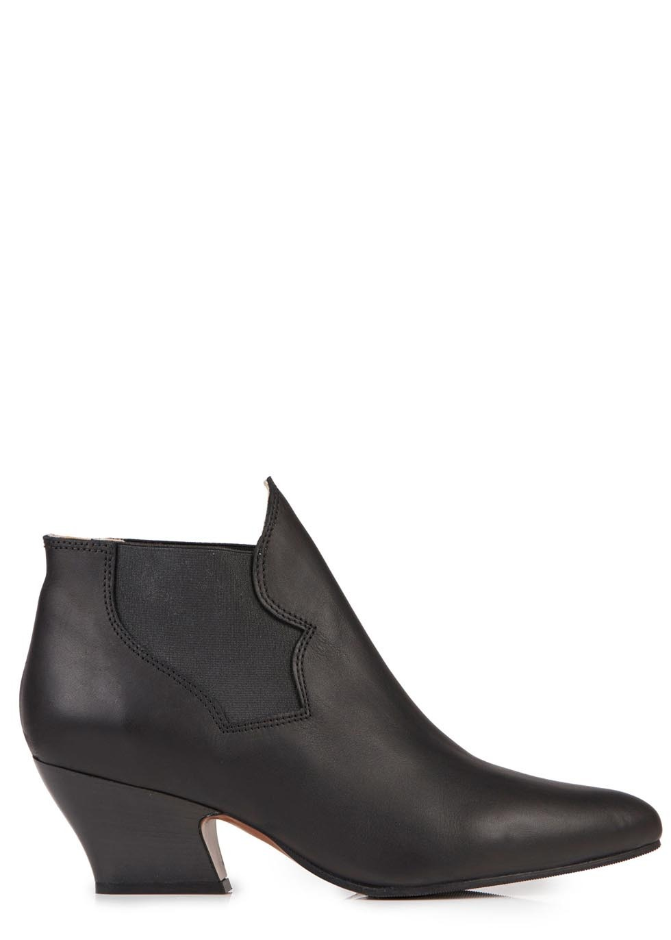 Alma Black Leather Ankle Boots - predominant colour: black; occasions: casual, creative work; material: leather; heel height: mid; heel: standard; toe: pointed toe; boot length: ankle boot; style: standard; finish: plain; pattern: plain; season: s/s 2014