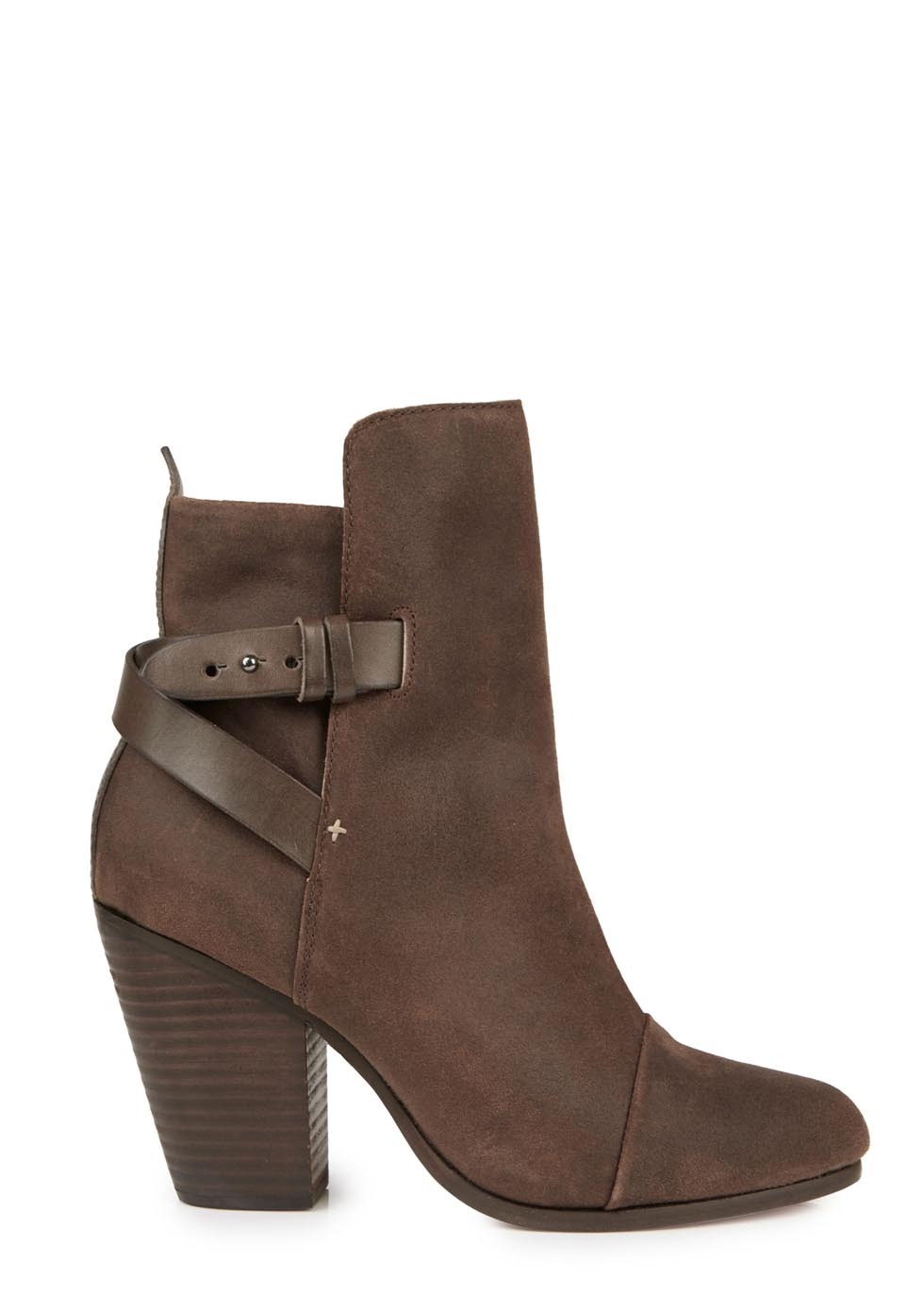 Kinsey Brown Leather Ankle Boots - predominant colour: chocolate brown; occasions: casual, creative work; material: suede; heel: standard; toe: round toe; boot length: mid calf; style: standard; finish: plain; pattern: plain; heel height: very high; season: s/s 2014