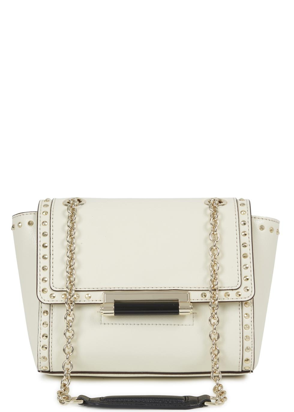 Cream Studded Leather Shoulder Bag - predominant colour: ivory/cream; secondary colour: gold; type of pattern: standard; style: shoulder; length: shoulder (tucks under arm); size: standard; material: leather; embellishment: studs; pattern: plain; finish: plain; occasions: creative work; season: s/s 2014