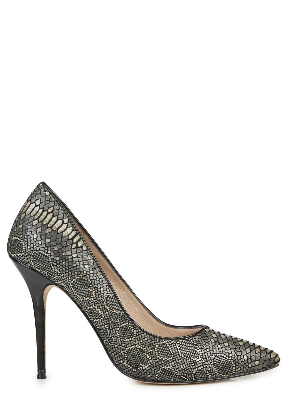 Adelite C Metallic Grey Snake Effect Pumps - secondary colour: champagne; occasions: evening, occasion; material: leather; heel: stiletto; toe: pointed toe; style: courts; finish: plain; pattern: animal print; heel height: very high; predominant colour: pewter; season: s/s 2014