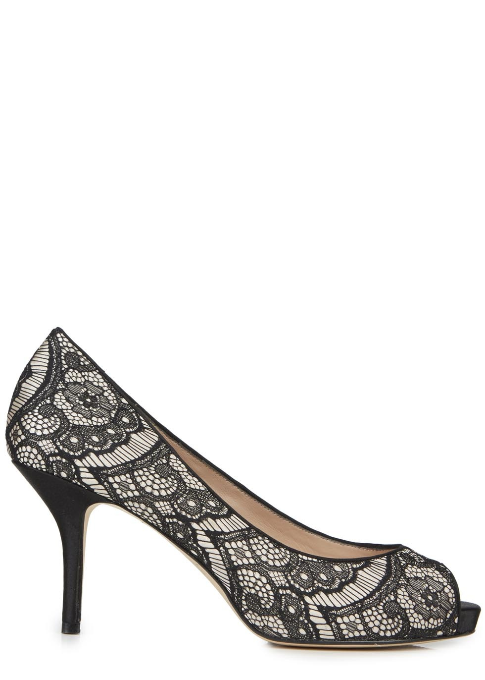 Chiswick Monochrome Satin And Lace Pumps - secondary colour: ivory/cream; predominant colour: black; occasions: occasion; material: leather; heel height: high; heel: stiletto; toe: open toe/peeptoe; style: courts; finish: plain; pattern: patterned/print; embellishment: lace; season: s/s 2014