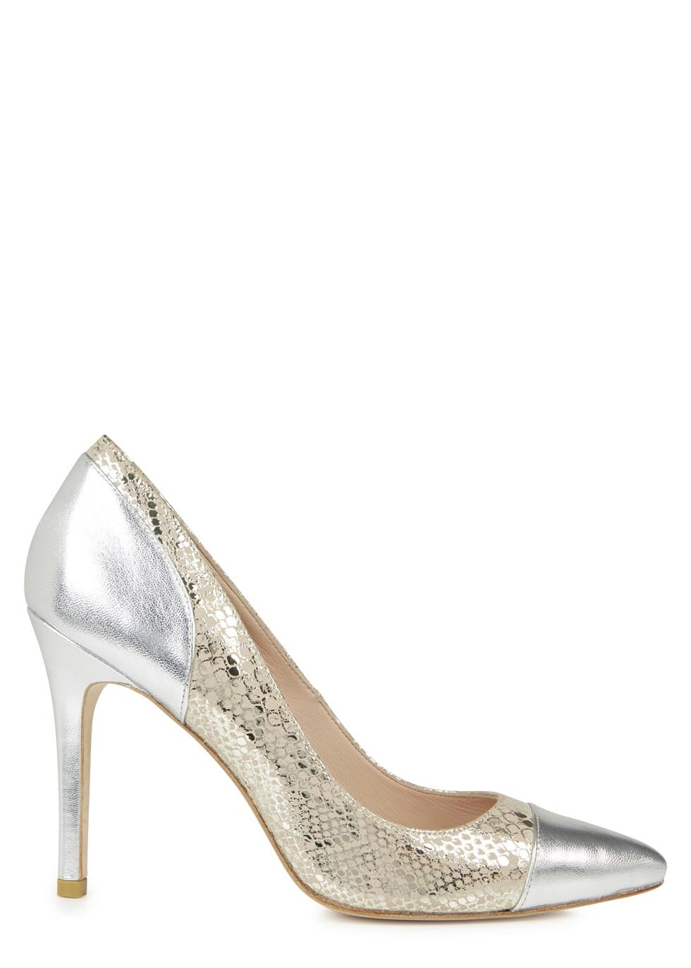 Silver And Nude Snake Effect Pumps - secondary colour: nude; predominant colour: silver; occasions: evening, occasion; material: leather; heel height: high; heel: stiletto; toe: pointed toe; style: courts; finish: metallic; pattern: animal print; trends: shimmery metallics; season: s/s 2014