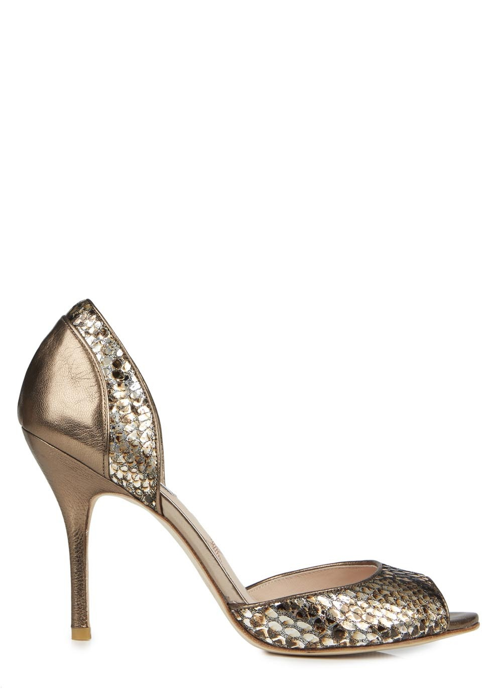 Zinnia Bronze Snake Effect Pumps - predominant colour: bronze; occasions: evening, occasion; material: leather; heel height: high; heel: stiletto; toe: open toe/peeptoe; style: courts; finish: metallic; pattern: animal print; trends: shimmery metallics; season: s/s 2014