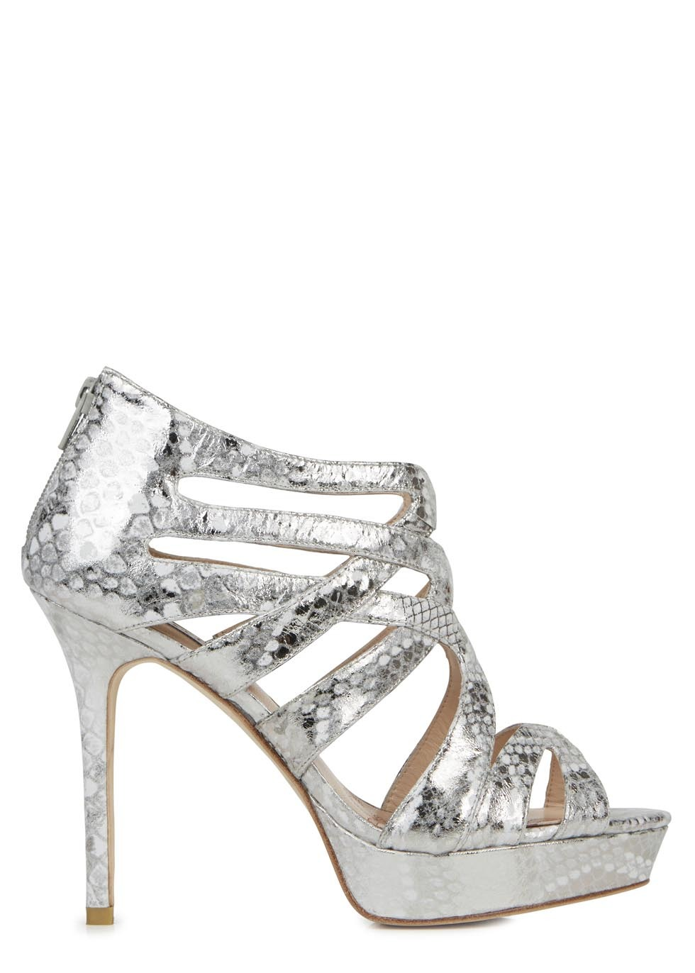 Notting Hill Metallic Leather Sandals - predominant colour: silver; occasions: evening, occasion; material: leather; heel: stiletto; toe: open toe/peeptoe; style: strappy; finish: metallic; pattern: animal print; heel height: very high; shoe detail: platform; trends: shimmery metallics; season: s/s 2014