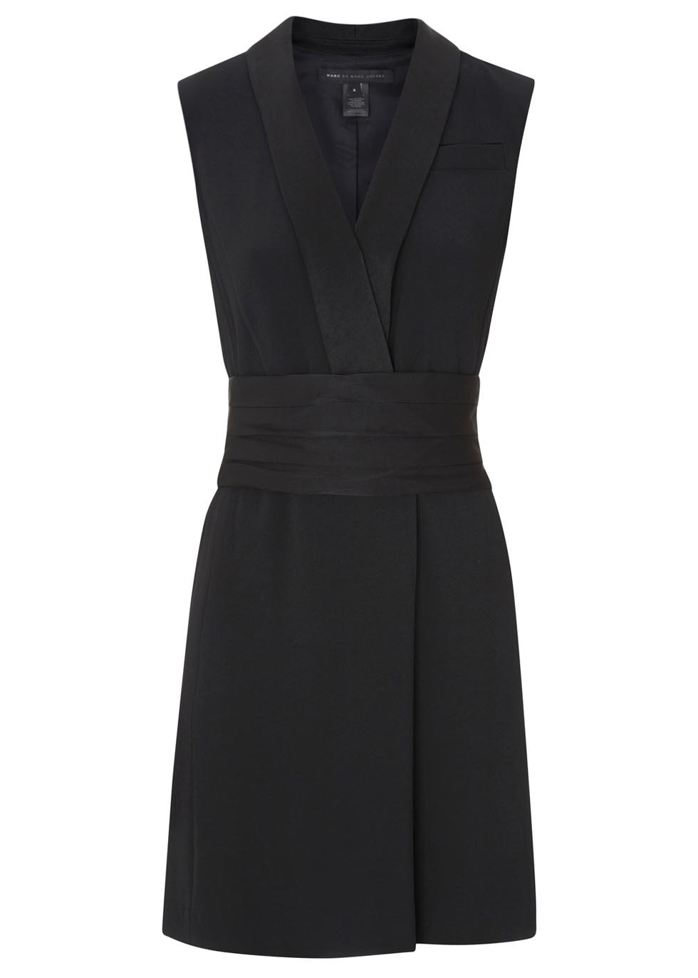 Anya Black Crepe Tuxedo Dress Size - style: shirt; neckline: v-neck; fit: fitted at waist; pattern: plain; sleeve style: sleeveless; waist detail: wide waistband/cummerbund; predominant colour: black; occasions: evening, occasion, creative work; length: just above the knee; fibres: polyester/polyamide - mix; sleeve length: sleeveless; texture group: crepes; pattern type: fabric; season: s/s 2014