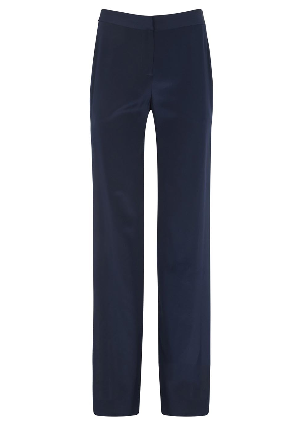 Salma Two Tone Wide Leg Silk Trousers - length: standard; pattern: plain; waist: mid/regular rise; predominant colour: navy; occasions: casual, evening, work, creative work; fibres: silk - 100%; texture group: silky - light; fit: wide leg; pattern type: fabric; style: standard; season: s/s 2014