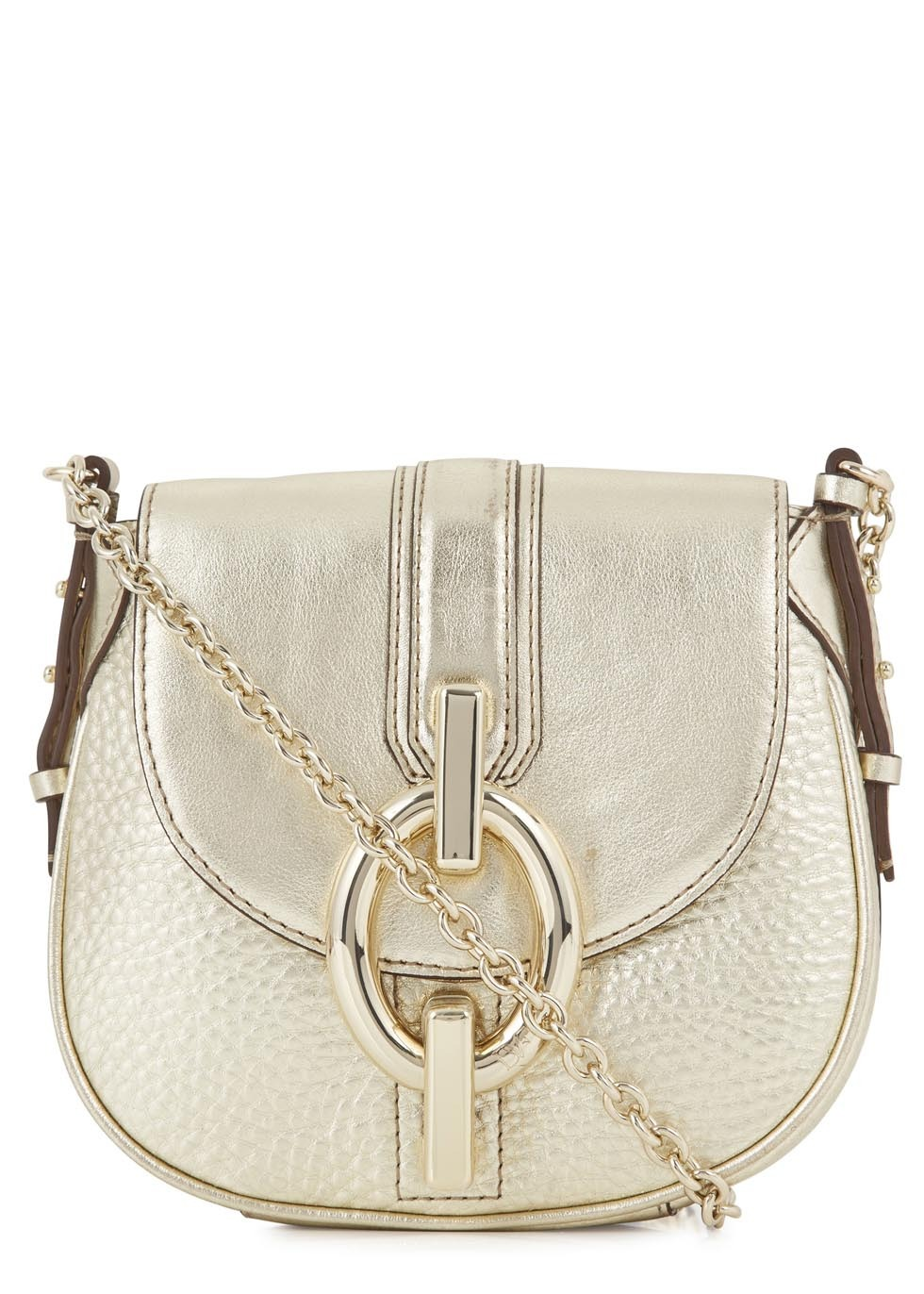 Sutra Mini Metallic Leather Cross Body Bag - predominant colour: gold; occasions: casual, creative work; type of pattern: standard; style: messenger; length: across body/long; size: standard; material: leather; pattern: plain; finish: metallic; embellishment: chain/metal; trends: shimmery metallics; season: s/s 2014