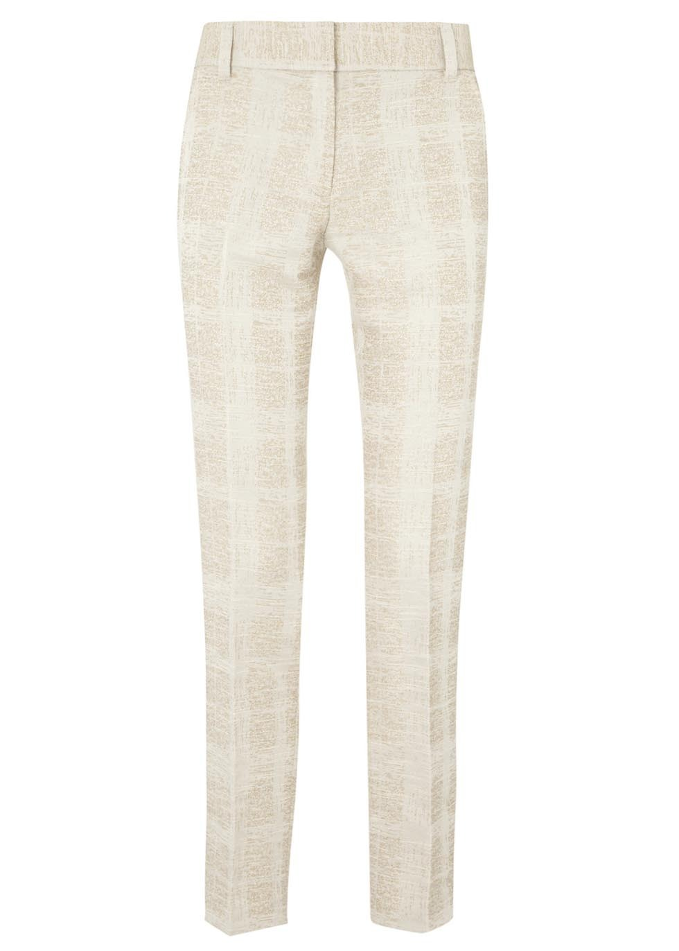 Harp Cream Check Tweed Trousers - length: standard; pattern: plain; waist: mid/regular rise; predominant colour: ivory/cream; secondary colour: stone; occasions: evening, creative work; fibres: polyester/polyamide - mix; fit: straight leg; texture group: tweed - light/midweight; style: standard; season: s/s 2014