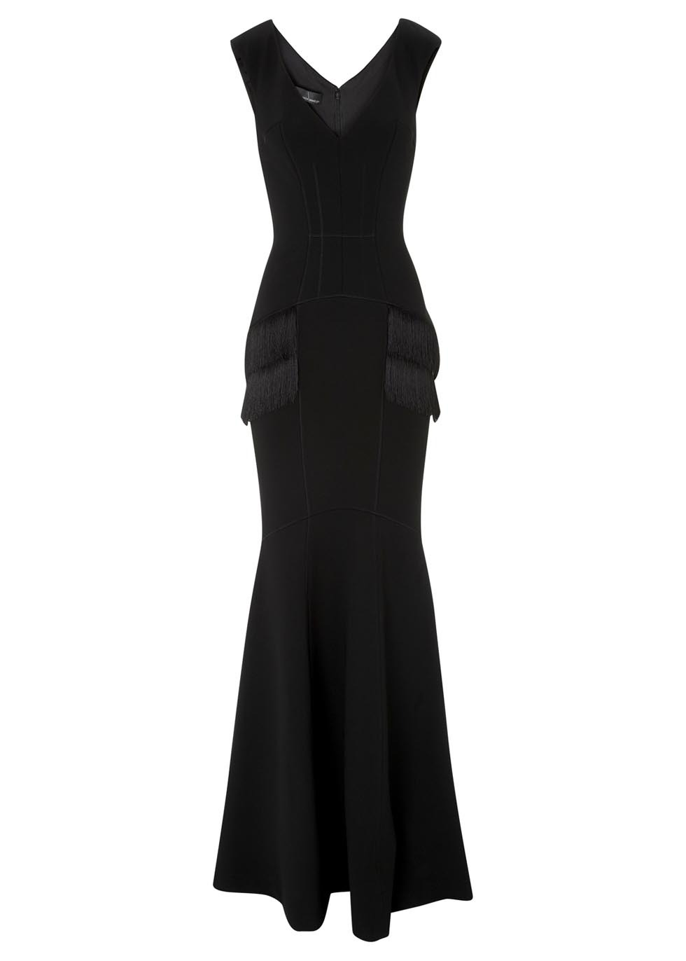 Black Fringed Jersey Crepe Gown - style: ballgown; neckline: low v-neck; fit: tailored/fitted; pattern: plain; sleeve style: sleeveless; back detail: back revealing; predominant colour: black; length: floor length; occasions: occasion; sleeve length: sleeveless; texture group: crepes; pattern type: fabric; embellishment: fringing; fibres: viscose/rayon - mix; season: s/s 2014; wardrobe: event; embellishment location: hip