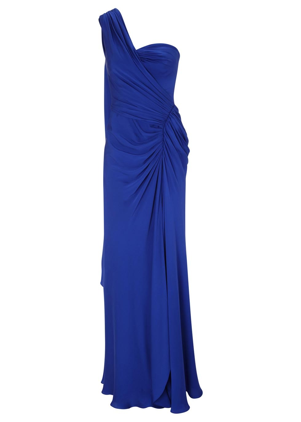 Blue One Shoulder Ruched Silk Gown - style: ballgown; pattern: plain; sleeve style: sleeveless; neckline: asymmetric; waist detail: flattering waist detail; bust detail: subtle bust detail; predominant colour: royal blue; occasions: evening, occasion; length: floor length; fit: body skimming; fibres: silk - 100%; hip detail: ruching/gathering at hip; shoulder detail: asymmetric shoulder; sleeve length: sleeveless; texture group: silky - light; pattern type: fabric; trends: powerful pleats; season: s/s 2014