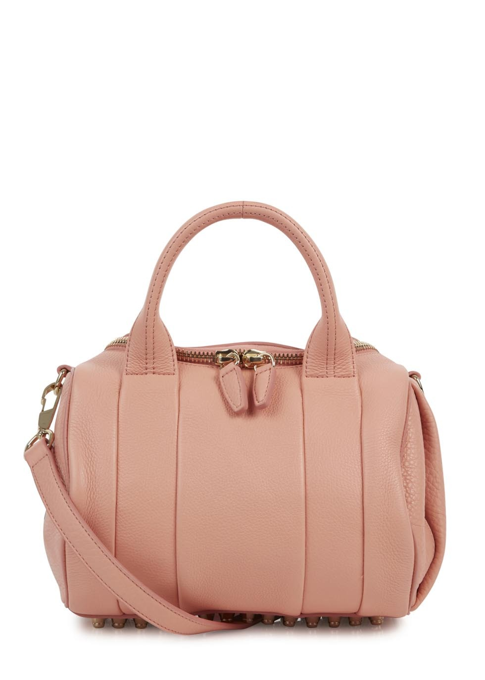 Rockie Coral Studded Leather Dumbo Bag - predominant colour: coral; occasions: casual, work, creative work; style: bowling; length: across body/long; size: standard; material: leather; pattern: plain; finish: plain; trends: sorbet shades; season: s/s 2014