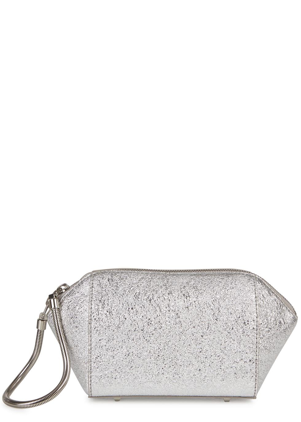 Chastity Silver Foiled Leather Clutch - predominant colour: silver; occasions: evening, occasion; type of pattern: standard; style: clutch; length: hand carry; size: standard; material: leather; pattern: plain; finish: metallic; trends: shimmery metallics; season: s/s 2014
